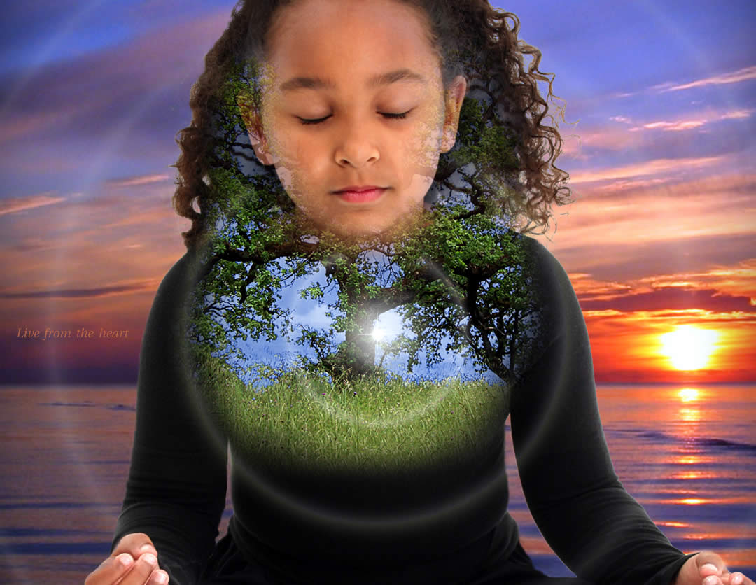girl meditating hologram1